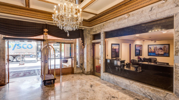 Elegant marble lobby of the Gaslamp Plaza Suites