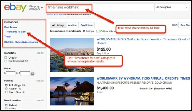 Searching for timeshares for sale on eBay