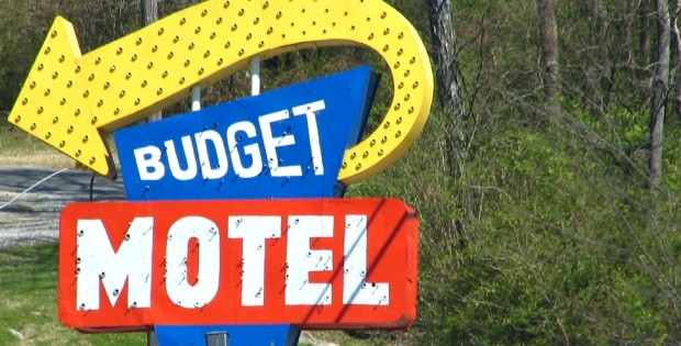 Colorful sign for the Budget Motel