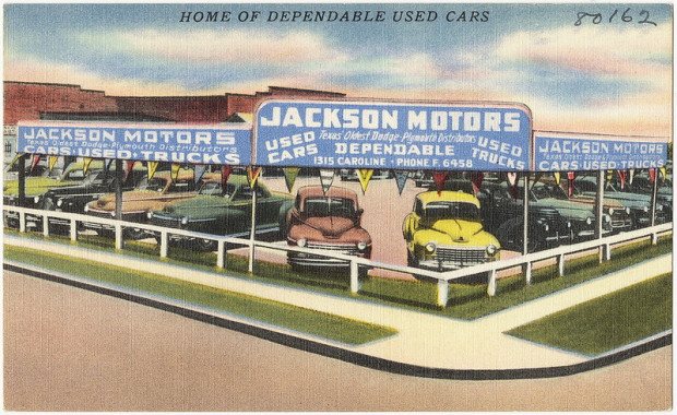 Vintage image of used car lot