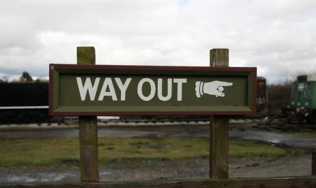 Sign for the way out