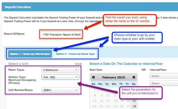 How to use the RCI deposit calculator, part 1