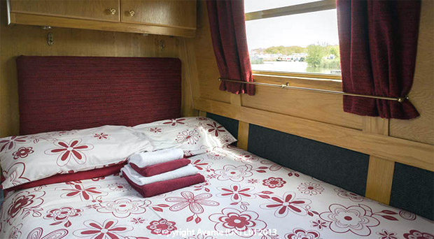 Bedroom on one of the canal boats