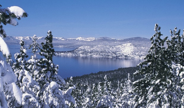 Beautiful view of Lake Tahoe in the snow