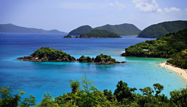 Gorgeous Trunk Bay USVI, with islands in the distance