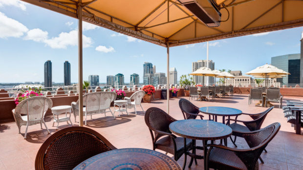 Rooftop terrace of the Gaslamp Plaza Suites in San Diego