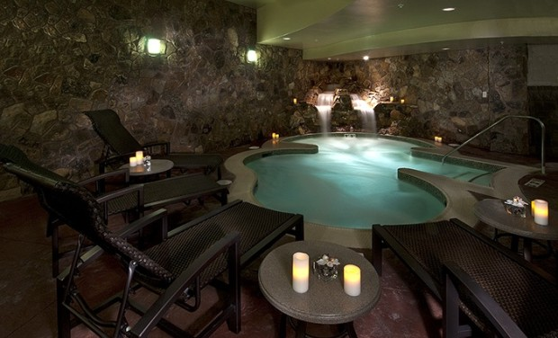The adults-only grotto with hot tub