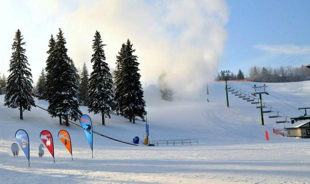 A ski resort making snow