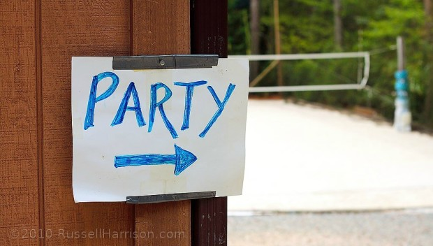 The party is this way