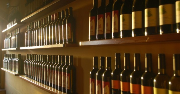 Shelves of wine bottles