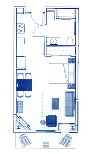 Timeshare studio layout example