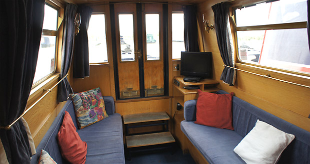 Cabin interior on a UK narrowboat
