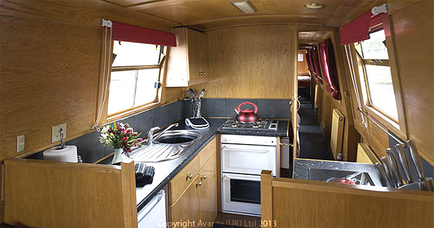 Galley aboard a canal boat