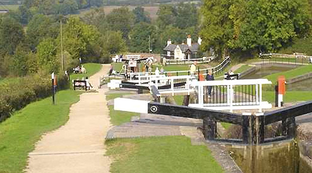 Locks along a UK canal
