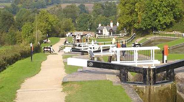 Locks along a UK canal